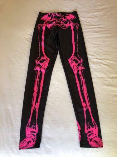 Blackmilk Leggings Pants Black Pink Skeleton Bones