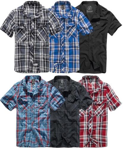 Brandit ROADSTAR Shirt Uomo A Quadri Camicia A Quadri A Maniche Corte Tempo Libero Camicia