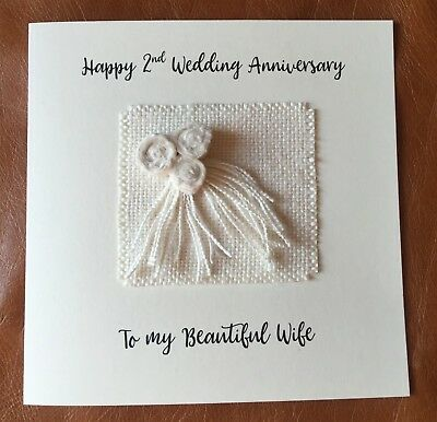 2nd Wedding Anniversary Card Cotton Anniversary Wife Husband Fawn Square Card
