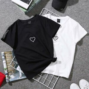 7ed5a344c6 Short Sleeve Couple T Shirt Simple Design Heart Printed Tees Summer ...