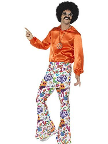 60s Groovy Flared Trousers, Mens, Multi-Coloured -  (Size: Chest 38.. COST-M NEW