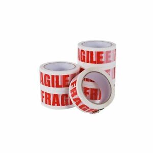 6 Rolls Of LOW NOISE FRAGILE Packing Tape 50mm x 66M