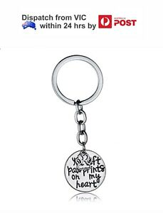 Keychain Key Fob Gift It/'s A Dog/'s Life Silver Plated Paw Print Keyring