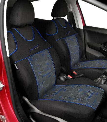 Front seat covers fit FORD FIESTA blue VEST SHAPE verlour black