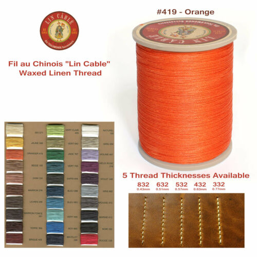 "Fil Au Chinois 50g /""Lin Cable/"" WAXED LINEN thread #419 ORANGE 5 sizes avail"