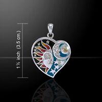 Universal Love Inlay Sun Moon Stars Sterling Silver Pendant Peter Stone Jewelry