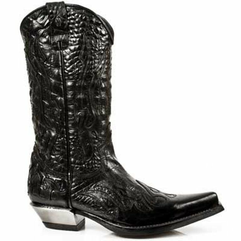 NEWROCK New Rock 7921-S1 Black Flame Devil Leather Boot Biker Goth Rock Boots