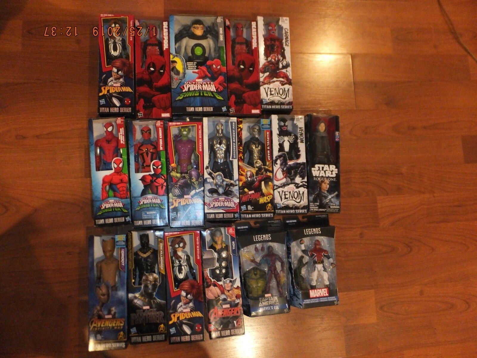 HUGE LOT marvel, DC, Star Wars 29 Action Figures 6  & 12  Titan Hero, legends,