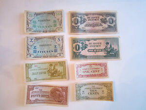 16-JAPANESE-WWII-CURRENCY-NOTES-NICE