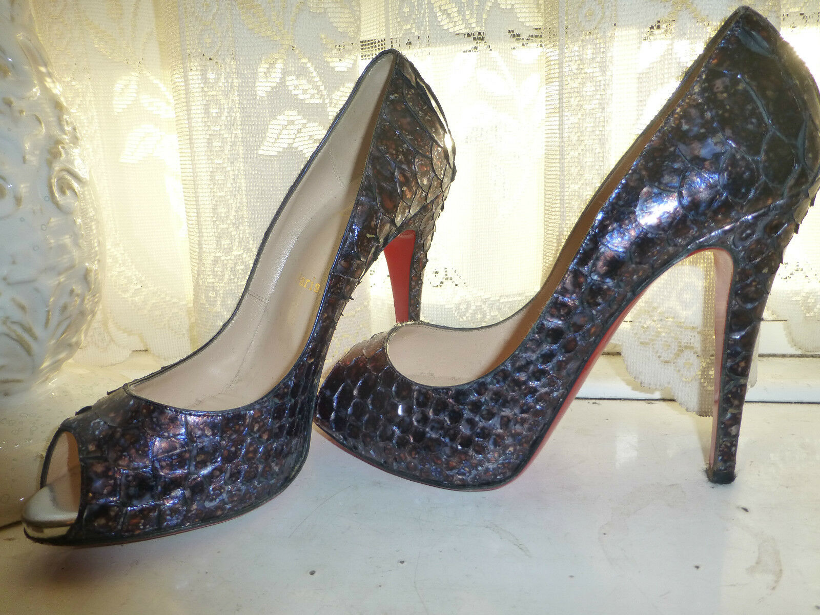 Christian Louboutin Blu ACIDO PYTHON LADY CLAUDE 38.5 UK5.5 Scarpa US8.5 Pompa Scarpa UK5.5 Tacco 62922c