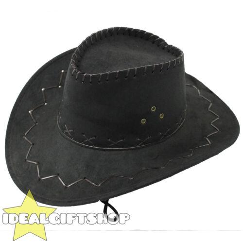 NERO In Finta Pelle Scamosciata Cowboy Cappello Cowgirl adulti Western Wild West Costume Cappello