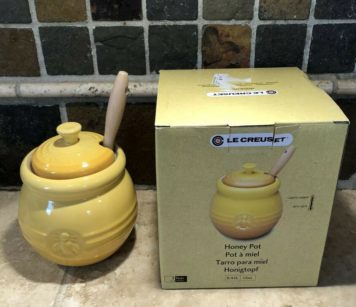 Honey Yellow 16 Oz Le Creuset Honey Pot Silicone Dip Stick Nwt Condiment For Sale Online