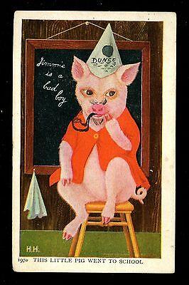 Jimmy Pig postcard Ullman Series #91 Artist Herman Anthropomorphic School