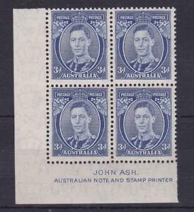 APD175-Australia-1938-3d-Blue-Die-II-Thin-paper-Ash-Imprint-Block-ACSC-194Aza