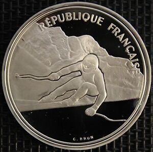 FRANCE-100-FRANCS-ALBERTVILLE-92-SKI-DE-DESCENTE-1989-ARGENT