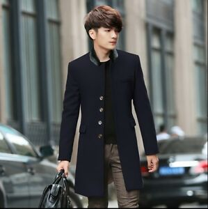 Hot Mens Fashion Jacket Outwear Slim Long Woolen Trench Coat Korean