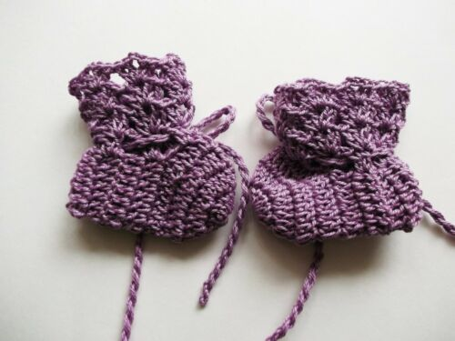 Baby Booties Baby Shoes Crochet Booties Newborn Shoes 2  Lilac OOAK