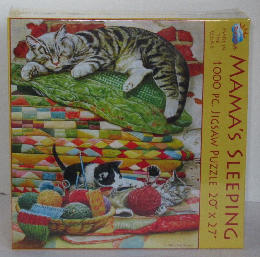 SunsOut MAMA'S SLEEPING quilt Cat Kittens 1000 Piece Jigsaw Puzzle Doug Knutson