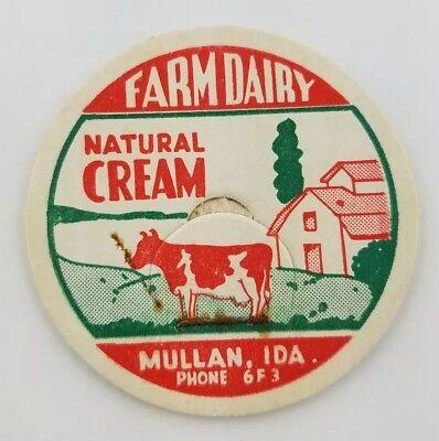 Idaho Milk Bottle Cap Natural Cream Farm Dairy Mullen PHONE 6F3