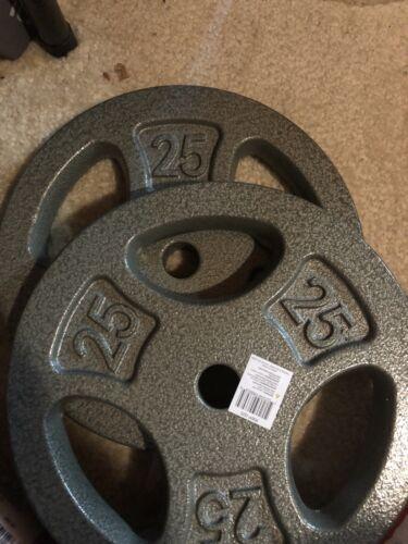 "BRAND NEW CAP 25lb Standard 1/"" Weight Plates 50lbs Total Pair"