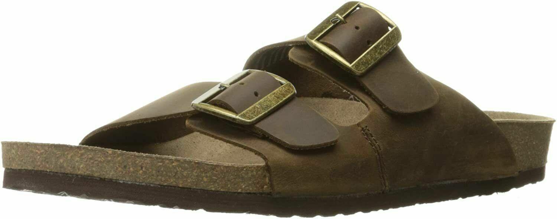 Crevo Mens Sedono CV1512 Slip On Open Toe Buckle Brown Slide Sandal Size 10