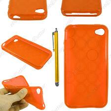 Housse Etui Coque Silicone Cercle Gel Souple Orange Apple iPhone 4S 4 + Stylet