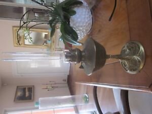 Livraison Rapide Lampe A Petrole Bronze Et Laiton Signee Leleu Decor Feuilles De Maronnier