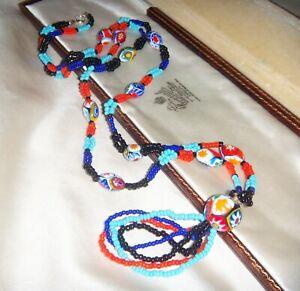 Colourful-ART-DECO-VENETIAN-MURANO-MILLEFIORI-GLASS-BEAD-33-034-LONG-NECKLACE