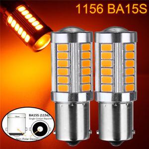 2x-1156-BA15S-33-LED-5730-SMD-Clignotants-Feu-Frein-Ampoule-Lampe-Reverse-Jaune