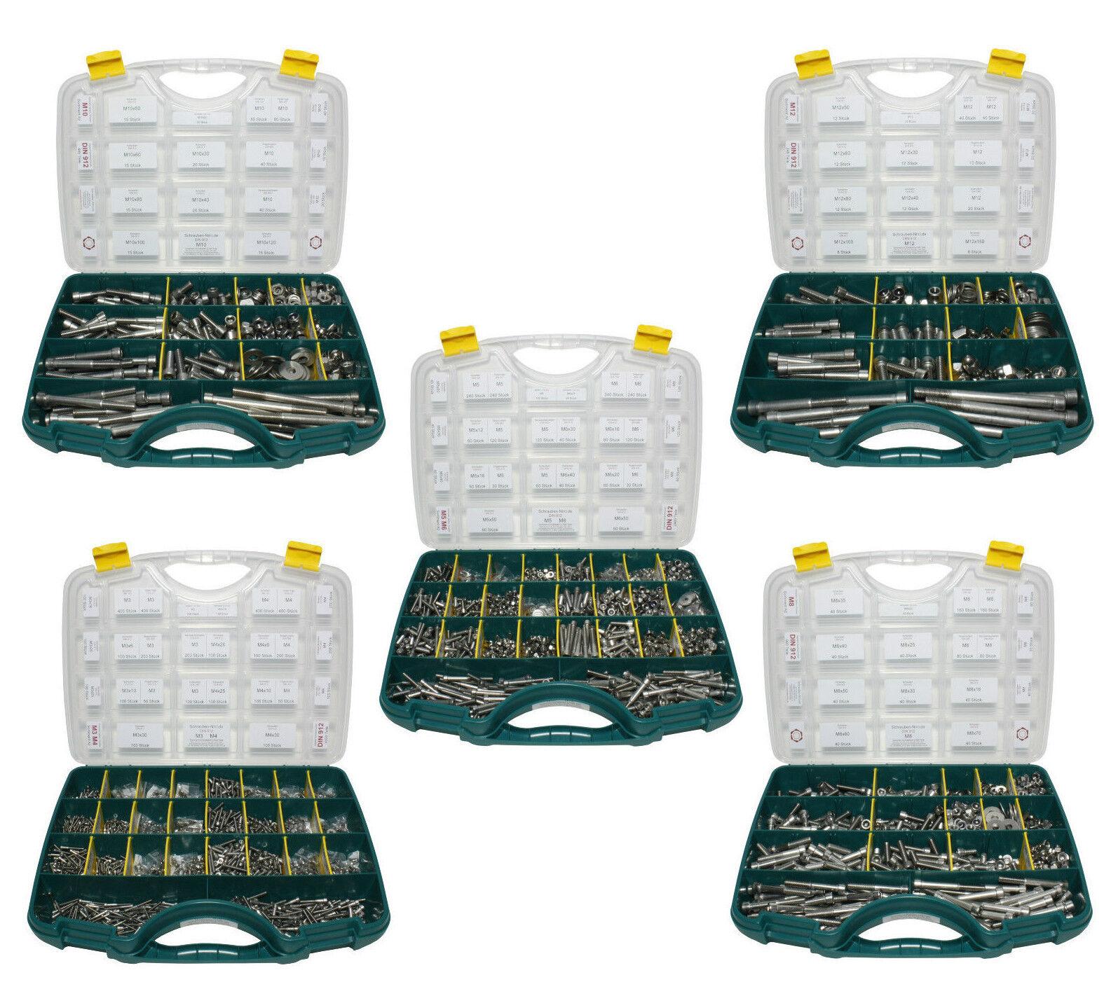 Sortiment Set Edelstahl Zylinderschrauben DIN 912 VA A2 V2A Innensechskant     | Verkaufspreis