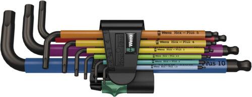 Wera 073593 hex-plus 9 pièce multi couleur boule fin Hex Allen Clé Set /& titulaire