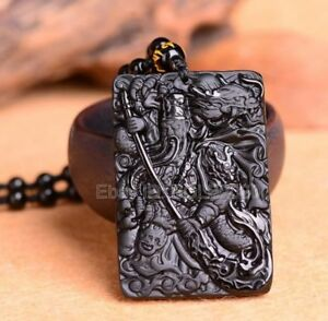 free Necklace Natural Gold Obsidian Carved Chinese Sword GuanGong Lucky Pendant