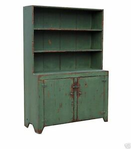 EARLY-AMERICAN-STEP-BACK-COUNTRY-PRIMITIVE-STEPBACK-HUTCH-CUPBOARD-PAINTED-PINE