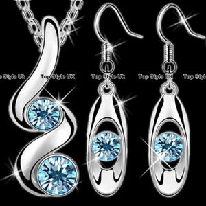 Silver Jewellery Aquamarine Necklace amp Earrings Set Women Gifts for Her Mum J247 - United Kingdom, United Kingdom - Silver Jewellery Aquamarine Necklace amp Earrings Set Women Gifts for Her Mum J247 - United Kingdom, United Kingdom