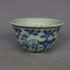 Chinese Old Blue and White Porcelain Deer and Bird Pattern Tea / Wine Cup