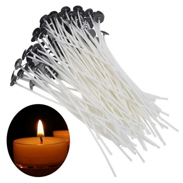 30Pcs 10cm Candle Wicks Cotton Core Pre-Waxed With Sustainers For Candle Making