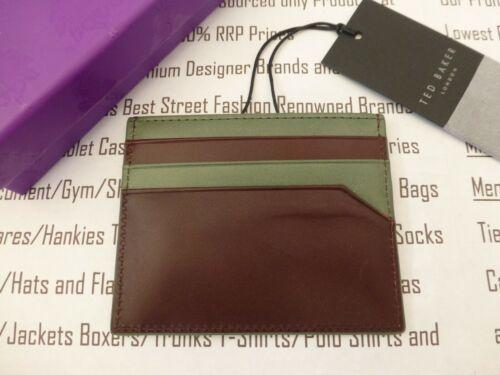 TED BAKER en cuir porte-carte Homme Contraste Edge Case chocolat Portefeuille Entièrement neuf dans sa boîte R £ 35