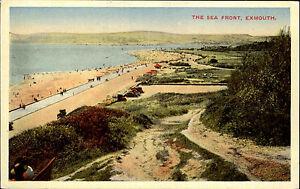 Exmouth-Devon-England-Color-AK-1920-30-sea-front-Strand-Promenade-ungelaufen
