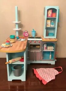 "American Girl Gourmet Kitchen sink stove mini fridge NEW 18/"" doll"