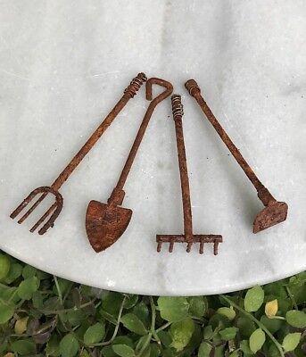 Miniature Dollhouse FAIRY GARDEN 4 Small Rustic Rust Tools Shovel Rake Fork Hoe