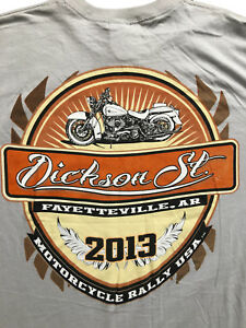 Details about Dickson St  2013 Fayetteville, AK Motorcycle Rally Beige  T-Shirt Sz  M