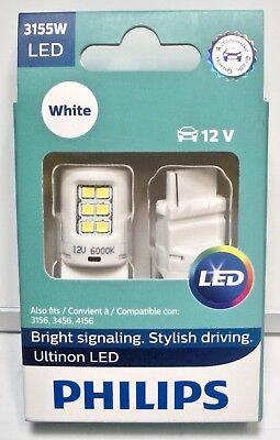 3456 WHITE Signal Backup Light PHILIPS Ultinon LED Bulbs 4156 3155W 3156