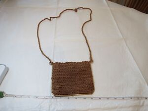 Made-Italy-exclusively-for-Walborg-knit-purse-crossbody-gold-metal-bag-antique