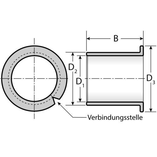 25 Gleitlager 1007 10 x 12//18 x 7 mm wartungsfrei mit Bund
