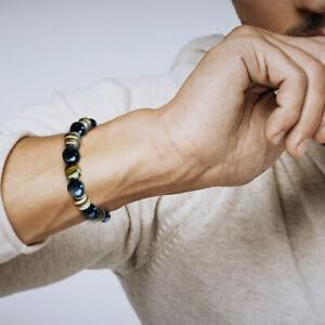 Bracelet Homme Femme Oeil de tigre  Hématite bois Tibet Lithothérapie