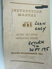 Esi Instruction Manual Model 250 Series Impedance Bridge