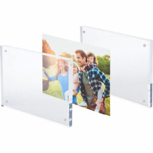 2 Pack Clear Photo Frame 4x6 Picture Free Standing Magnetic