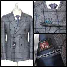 SARTORE Bottoli Windowpane Silk Cashmere Double Breasted Coat Jacket 48 38 R NWT