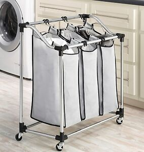 Rolling Laundry Sorter Triple Laundry Hamper Durable