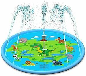 Splash Pad, 67 Inches Outdoor Water Sprinkler Pool Sprinkler for Kids Boys Girls